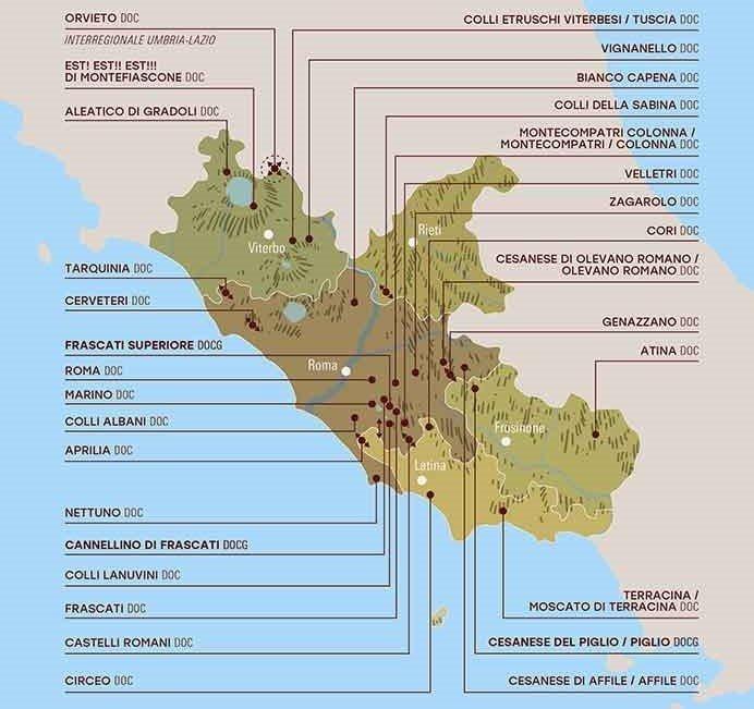 Lazio Wine Map